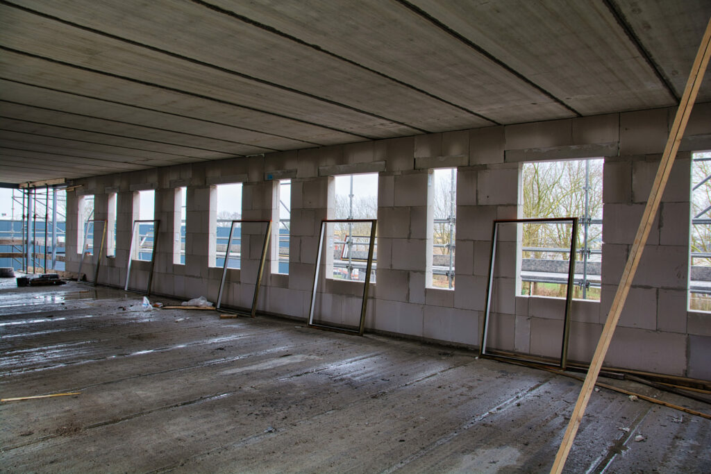 Interior in construction of the new Ardena Assen building on February 11, 2020