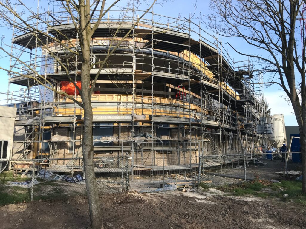 Update of the exterior façade of Ardena Assen in construction on March 25 2020.